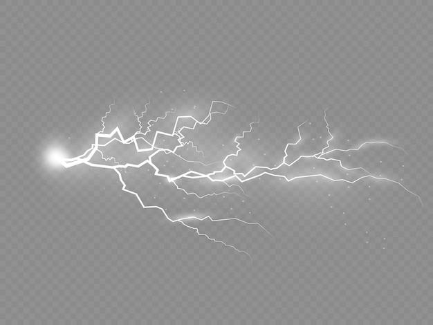 O efeito de relâmpago e iluminação conjunto de zíperes trovoada e vetor de relâmpagos illustarion eps