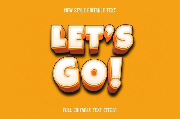 O efeito de texto deixa ir as cores branco e laranja