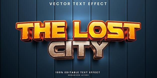O efeito de texto editável da cidade perdida