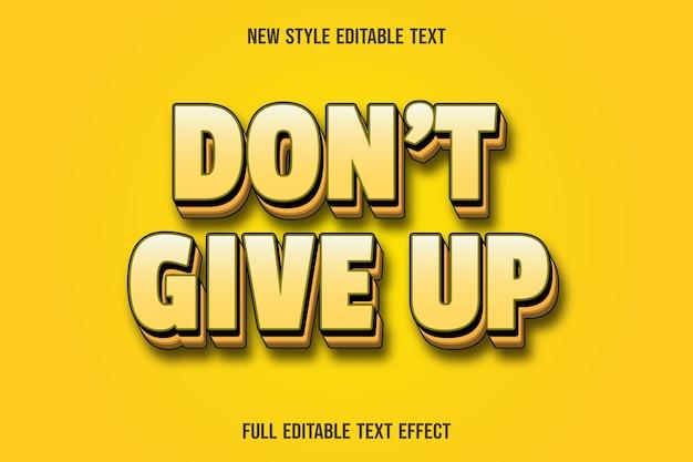 O efeito de texto editável não desiste do gradiente de cor amarela