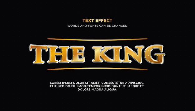 O efeito de texto rei em 3d