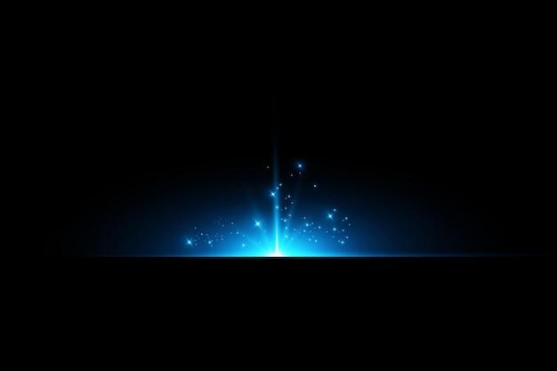 O efeito do brilho intenso de estrelas azuis partículas de luz efeitos de luz