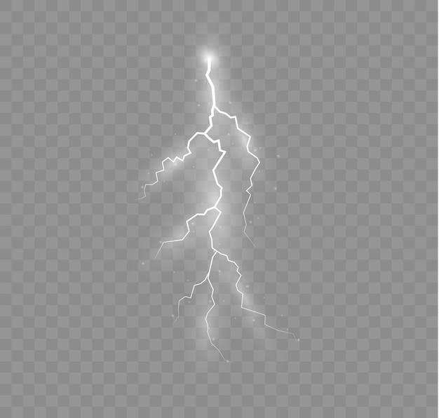O efeito do relâmpago e conjunto de iluminação de trovoada de zíperes e relâmpagos iluminam e brilham