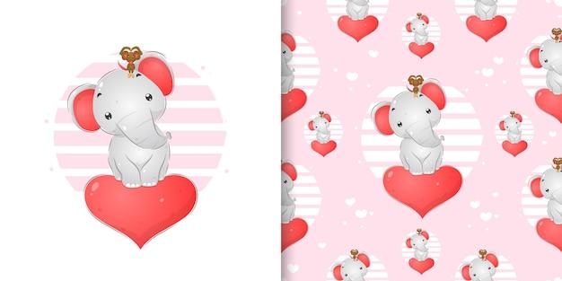 O elefante com seu mouse está parado no grande coração da ilustração