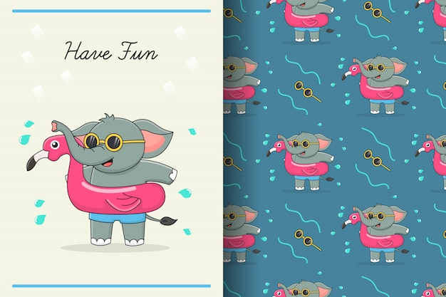 O elefante fofo flamingo nadar anel padrão sem emenda e cartão