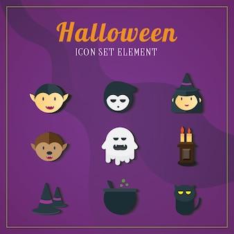 O elemento de ilustrações do ícone de halloween ajustou um.