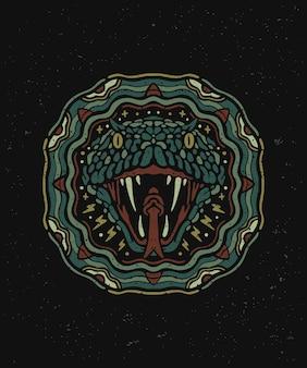 O emblema da cobra víbora com uma arte no estilo mandala