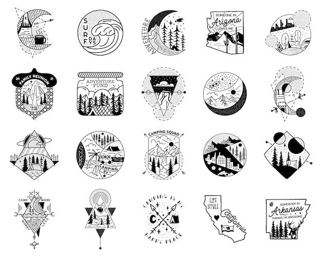 O emblema de aventura de acampamento projeta um grande pacote. logotipos de crista ao ar livre com barracas e árvores. rótulos de silhueta de viagens isolados. geometria sagrada. emblemas de gráficos de tatuagem de vetor de ações.