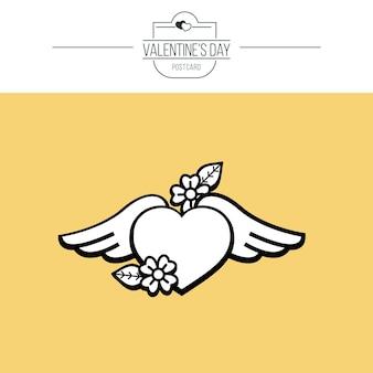 O emblema do amor. o coração alado.