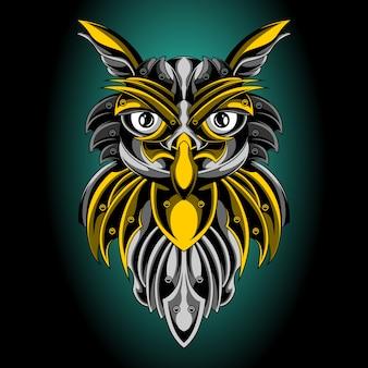 O emblema dourado da coruja sagrada