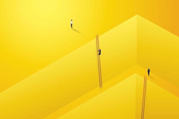 O empresário começa a subir escadas para uma conquista de carreira de sucesso na parede amarelo escuro. ilustração de desenvolvimento pessoal.
