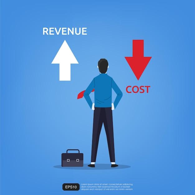 O empresário em pé exibe as setas para cima e para baixo para obter o símbolo de receita e custo