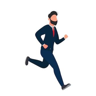 O empresário está correndo. um homem de terno está correndo.