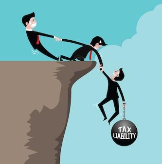 O empresário está segurando uma mão de equipe para ajudar a puxar para cima