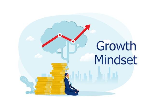 O empresário medita sob um grande cérebro com uma mentalidade de crescimento de pensamento para o conceito criativo de lucro empresarial