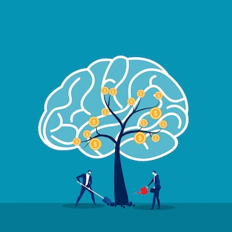 O empresário regando as árvores pensa que o conceito de ideia de mentalidade de crescimento, vetor.