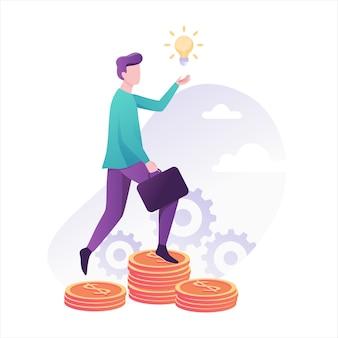 O empresário sobe a escada de moeda para o sucesso. realização financeira. ideia de crescimento de investimento e financiamento. ilustração em grande estilo