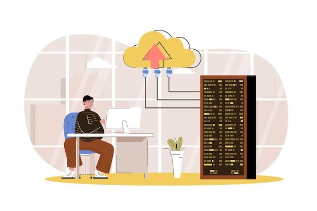 O engenheiro de conceito da web do data center oferece suporte e mantém a sala de racks de servidores em nuvem