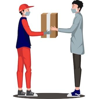 O entregador está entregando o pacote ao destinatário