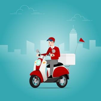 O entregador montando uma scooter.
