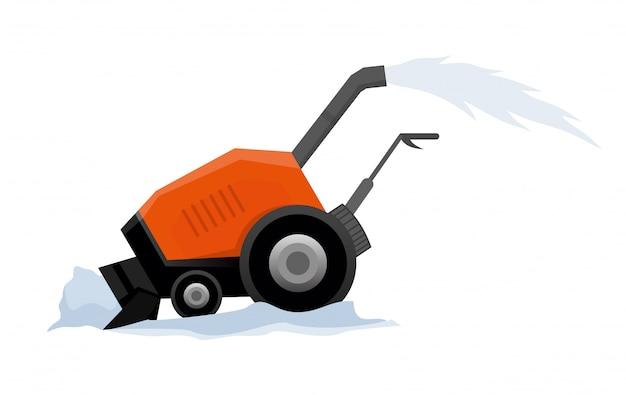 O equipamento limpa a estrada da neve. obras rodoviárias. equipamento de arado de neve isolado no fundo branco.