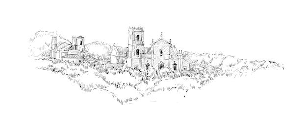 O esboço da paisagem mostra o antigo edifício católico da igreja da índia, ilustração