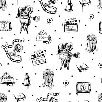 O esboço do cinema é um padrão uniforme em um fundo branco isolado. pipoca de câmera de filme vintage