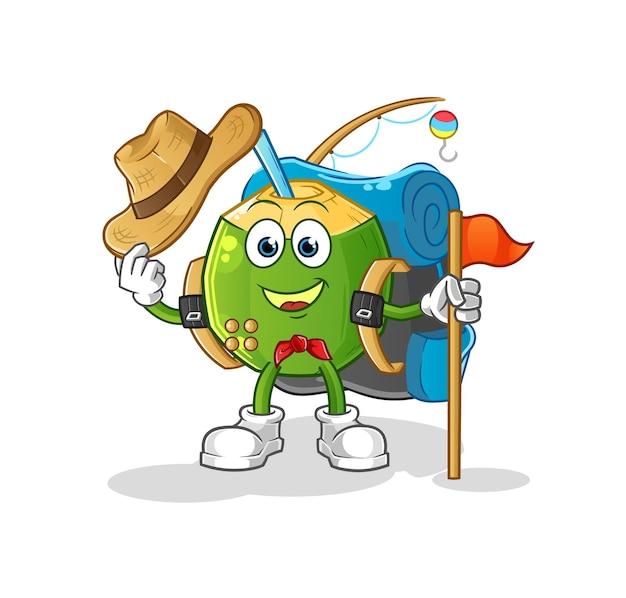 O escoteiro de bebida de coco. personagem de desenho animado