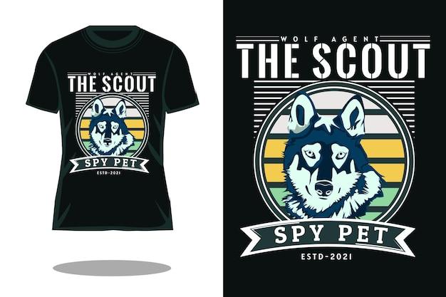 O escoteiro espião, animal de estimação, camiseta retrô, design