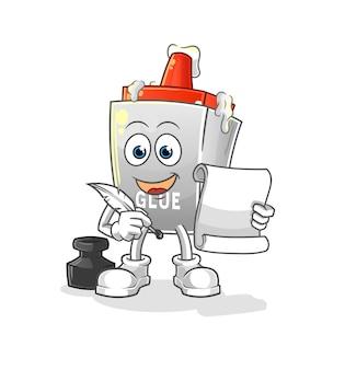O escritor de cola. personagem de desenho animado