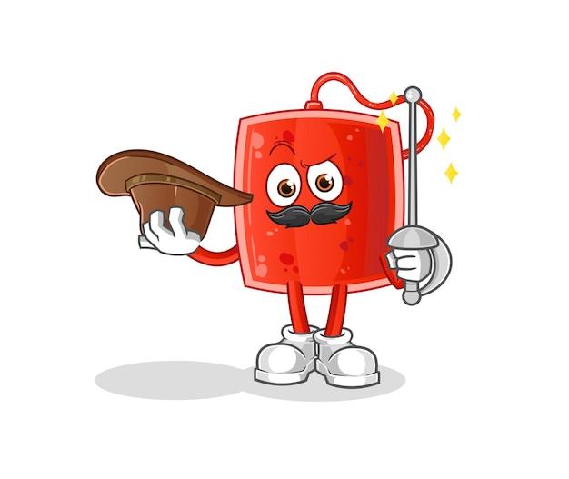 O esgrimista da bolsa de sangue. mascote dos desenhos animados