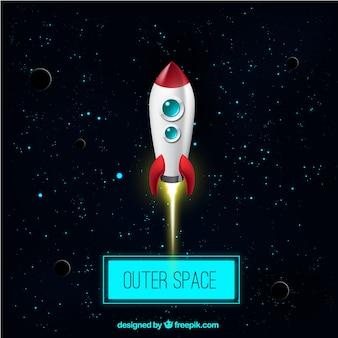 O espaço exterior e um foguete