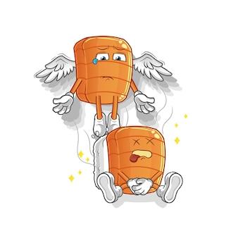 O espírito do sushi deixa o mascote do corpo. desenho animado