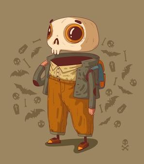 O esqueleto do estudante está pronto para aprender algo novo sobre as origens do halloween