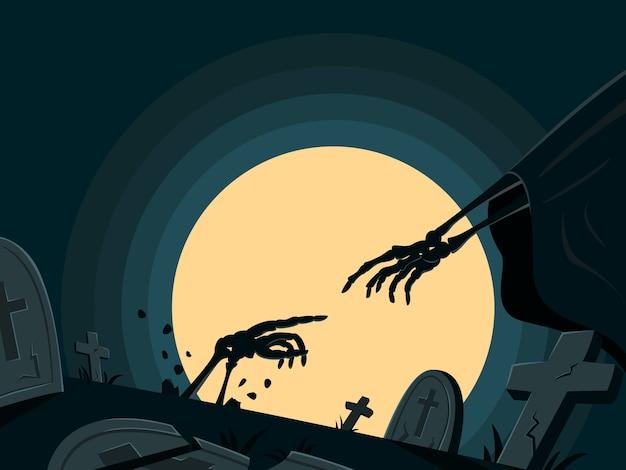 O esqueleto é ressuscitado na tumba para papel de parede de halloween.