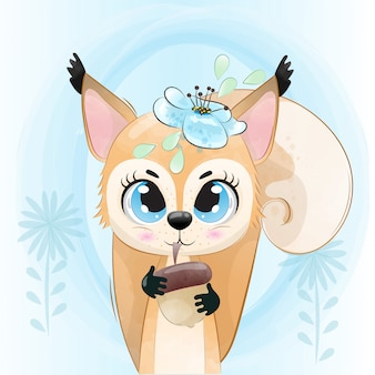 O esquilo do bebê é um personagem fofo pintado com aquarela.