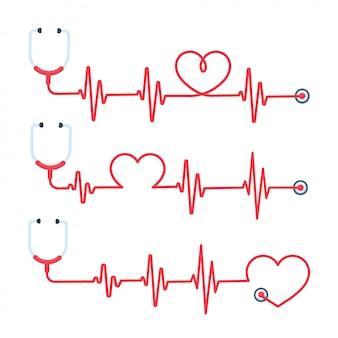 O estetoscópio médico tem o conceito da linha vermelha do tratamento e salva vidas.