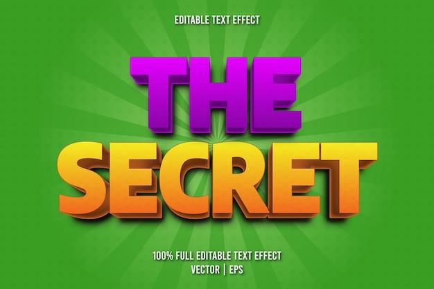 O estilo de desenho animado com efeito de texto editável secreto