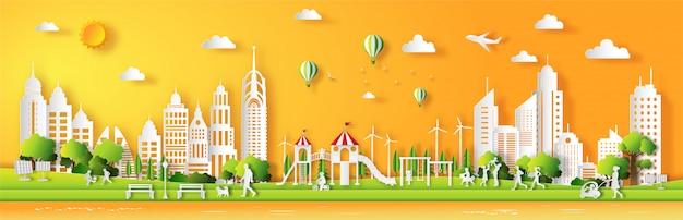 O estilo de papel da arte da paisagem com a cidade verde do eco, pessoa aprecia o ar fresco no parque.