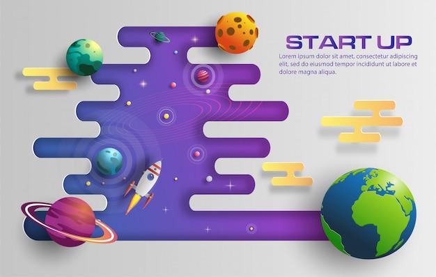 O estilo de papel da arte do voo do foguete no espaço com começa acima o conceito.