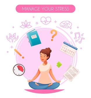 O estresse do estilo de vida saudável, gerenciando a composição dos desenhos animados circulares, sentado na ioga pose de lótus, música, meditação