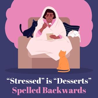 O estresse é sobremesas soletradas de trás para frente na maquete de postagem nas redes sociais. modelo de design de banner da web de publicidade. impulsionador de mídia social, layout de conteúdo. cartaz de promoção, anúncios impressos com ilustrações planas