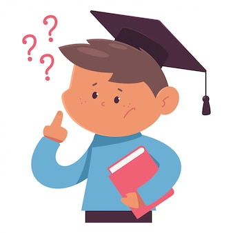O estudante de pensamento na graduação cap ilustração dos desenhos animados isolada em um fundo branco.