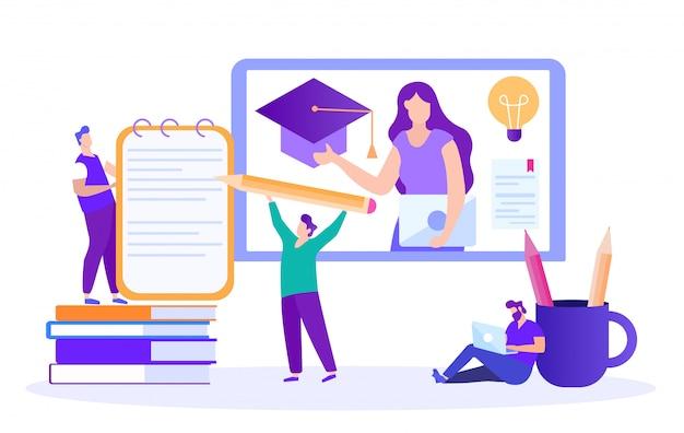 O estudante escreve resumo. palestra online. ensino à distância. lição online. e-learning