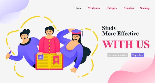 O estudo é mais eficaz com a página de destino