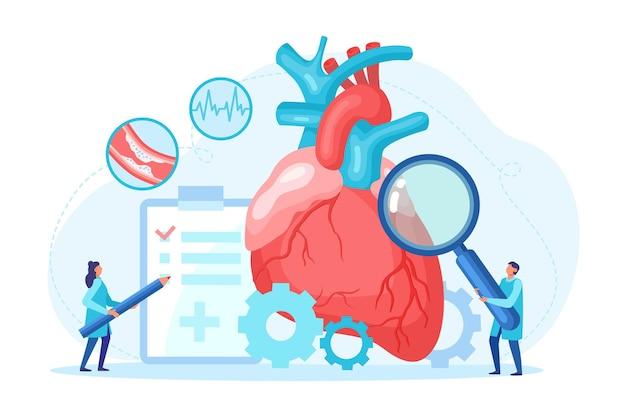 O exame de saúde do coração e o pequeno especialista em cardiologia com lupa cuidam do cardiograma de pulso do exame médico profissional. conceito de diagnóstico de doenças e cuidados de saúde. ilustração vetorial