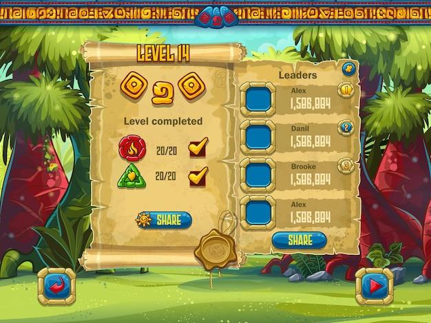 O exemplo do nível de desempenho da tela do jogo para jogos de computador