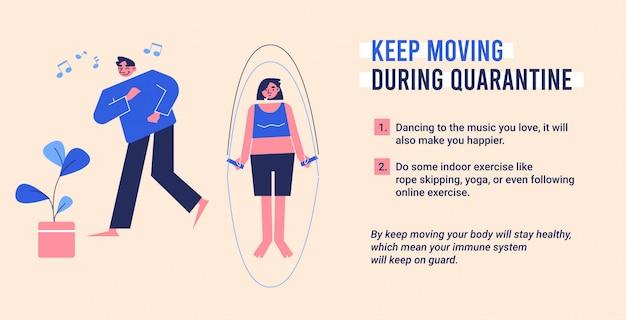 O exercício continua em movimento durante a ilustração de quarentena