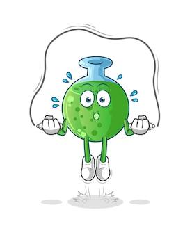 O exercício de pular corda com vidro químico. mascote mascote dos desenhos animados