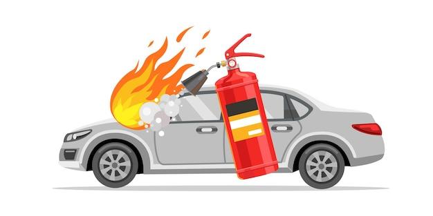 O extintor de incêndio apaga o carro ilustração em vetor plana em chamas carro